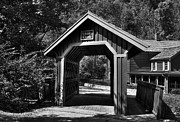 Wood Bridges Metal Prints - Whisky Creek BW Metal Print by Mel Steinhauer