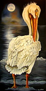 American White Pelican Painting Posters - Whisper and Shout Poster by Phyllis Beiser