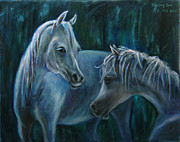 Western.love Painting Prints - Whispering... Print by Xueling Zou