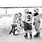 Youth Hockey Prints - Whispers on the Backyard Rink Print by Elizabeth Urlacher