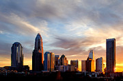Charlotte Nc Photography Posters - Whispy clouds over Charlotte NC skyline Poster by Patrick Schneider