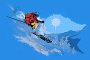Skiing Art Prints Painting Framed Prints - Whistler Art 008 Framed Print by Catf