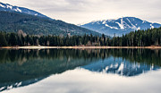 Mountain Reflection Lake Summit Mirror Prints - Whistler Blackcomb Reflection Print by James Wheeler