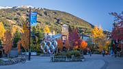 Ski Village Framed Prints - Whistler Olympic Plaza in Autumn Framed Print by Pierre Leclerc