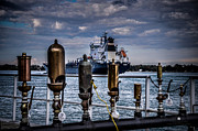 Whistles Prints - Whistles on the Water St Clair MI and Ship Print by Ronald Grogan
