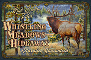 Montana Wildlife Paintings - Whistling Meadows Elk by JQ Licensing