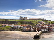 River Esk Prints - Whitby Abbey and church above the harbour entrance Whitby North Yorkshire England UK  Print by Jon Boyes