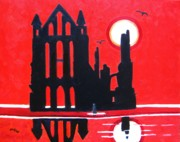 Dracula Paintings - Whitby Abbey Yorkshire by Lesley Giles