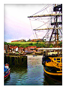 Stoker Posters - Whitby Harbor Poster by Joan  Minchak