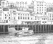 Picturesque Drawings Posters - Whitby Harbour Poster by Shirley Miller