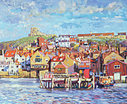 Crowds Paintings - Whitby by Martin Decent