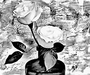 Abstract Roses Posters - White and Black Roses Poster by Marsha Heiken
