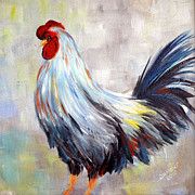 White And Blue Rooster Print by Dorothy Maier