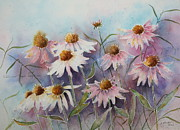Mystic Setting Painting Posters - White and Pink Coneflowers Poster by Patsy Sharpe