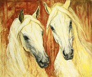 Horses Paintings - White Arabian Horses by Silvana Gabudean