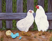 Hens And Chicks Paintings - White Araucana SOP by Amanda  Stewart