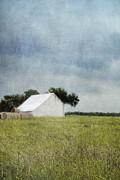 Field. Cloud Digital Art Prints - White barn Print by Elena Nosyreva