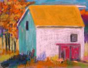 Red Roof Drawings - White Barn by John  Williams