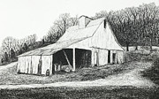 White River Scene Drawings - White Barn on Bluff Road by Garry McMichael