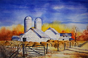 Brilliant Paintings - White Barns  by Sarah Luginbill