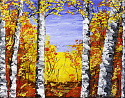 Handmade Trunk Posters - White Birch Tree Abstract Painting In Fall Poster by Keith Webber Jr