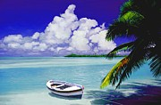 Shores Mixed Media - White boat on a tropical island by David  Van Hulst