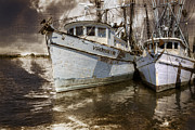 Sepia White Nature Landscapes Prints - White Boats Print by Debra and Dave Vanderlaan