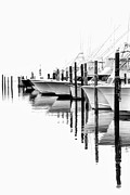 Fishing Art Cards Prints - White Boats II - Outer Banks BW Print by Dan Carmichael