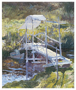 Arched Bridge Posters - White Bridge Poster by John Twachtman