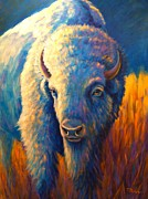 Buffalo Posters - White Buffalo Blue Moon Poster by Theresa Paden