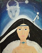 Calf Mixed Media - White Buffalo Calf Woman by Marie Tucker