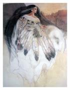 Red Art Pastels Prints - White Buffalo Calf Woman Print by Pamela Mccabe