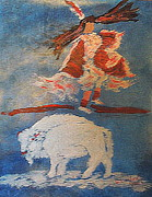 Sacred White Buffalo Posters - White Buffalo Dance 1 Poster by Richard W Linford