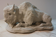 Carving  Sculptures - White Buffalo sculpture 2 by Derrick Higgins