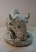 Sculpture Sculptures - White Buffalo sculpture by Derrick Higgins