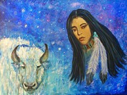Sacred White Buffalo Posters - White Buffalo Woman Ptewan Wi Poster by The Art With A Heart By Charlotte Phillips
