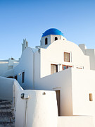 Greek Icon Framed Prints - White buildings and blue church in Oia Santorini Greece Framed Print by Matteo Colombo