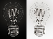 Shiny Digital Art Prints - White Bulb Black Bulb Print by Scott Norris