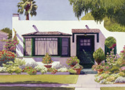 House.houses Framed Prints - White Bungalow in Coronado Framed Print by Mary Helmreich