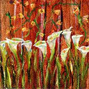 Regina Valluzzi - white calla lilies 3 by 3 inch miniature painting