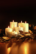 White Candles With Gold Leaf Garland  Print by Sandra Cunningham