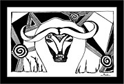 Spirit Buffalo Art Posters - White Cape She-Buffalo  Poster by Ama White Owl