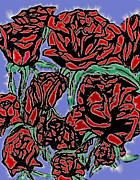 Tiffany Mixed Media Prints - White Carona Surrounding Red Roses on Parade Print by Tiffany Selig