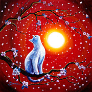 Tree Blossoms Paintings - White Cat in Bright Sunset by Laura Iverson