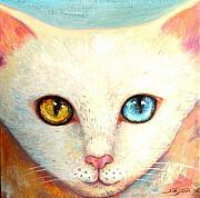Cute Cat Prints - White Cat Print by Shijun Munns