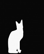 Chat Digital Art Posters - White Cat Silhouette on a Black Background Poster by Barbara Griffin