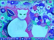 Choker Painting Prints - White Cat with Flowers Print by Anne-Elizabeth Whiteway