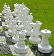 Chess Queen Posters - White Chess Pieces Poster by Denise Mazzocco