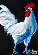 White Pastels Metal Prints - White Chicken Metal Print by EMONA Art