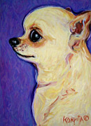 Chiwawa Paintings - White Chihuahua - Sweet Pea by Rebecca Korpita